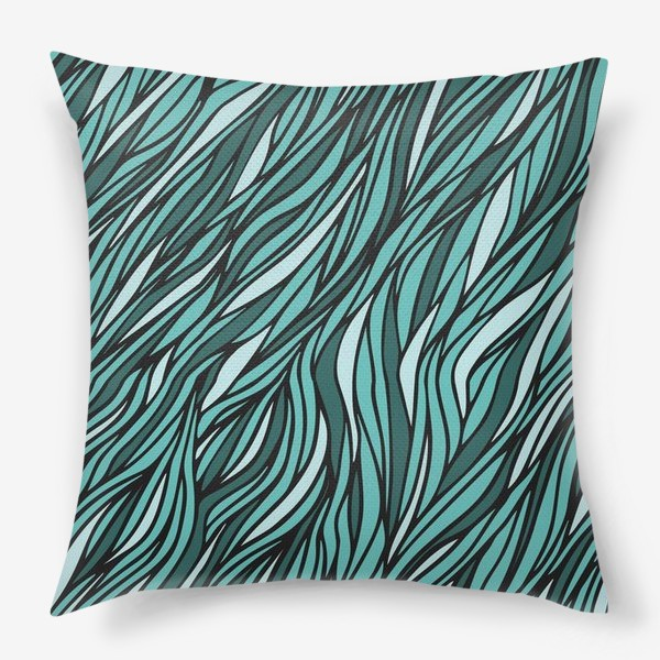 Подушка «Циановый паттерн Волны Море»