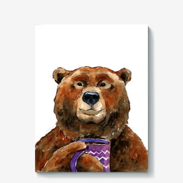 Холст «Медведь пьет чай»