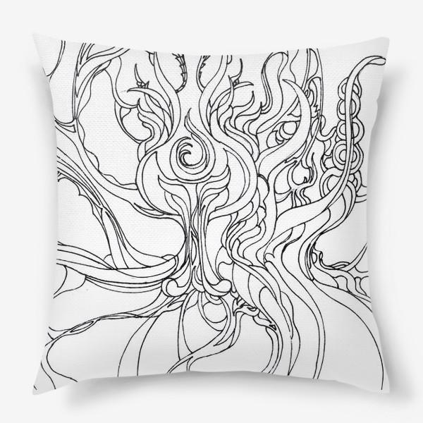 Подушка «Абстракция черно-белая»
