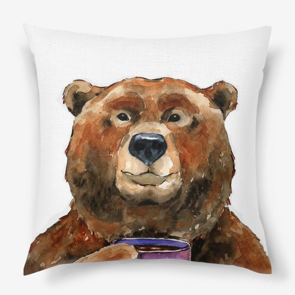 Подушка «Медведь пьет чай»
