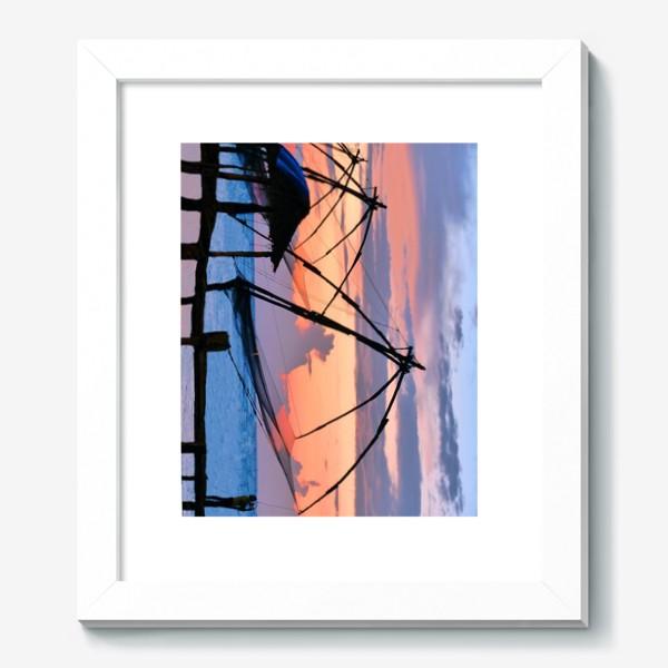 Картина «Рыбацкие сети в закате на море»