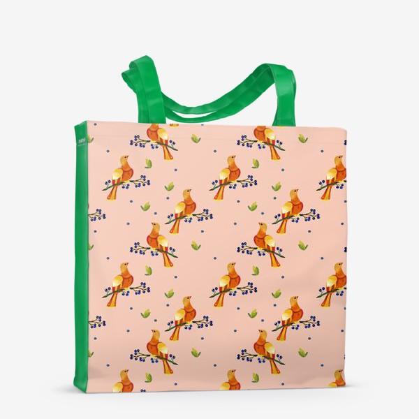 Сумка-шоппер «Персиковая птица»