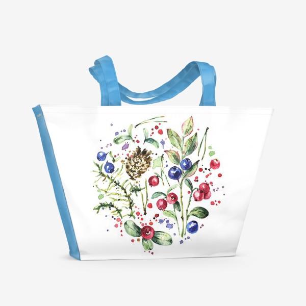 Пляжная сумка «Дары леса. Акварель»