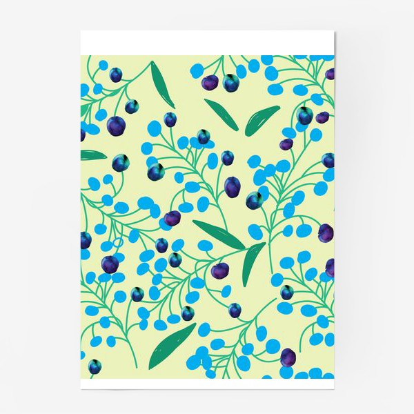 Постер «голубые ягодки на молочном фоне»