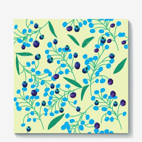 Холст «голубые ягодки на молочном фоне»