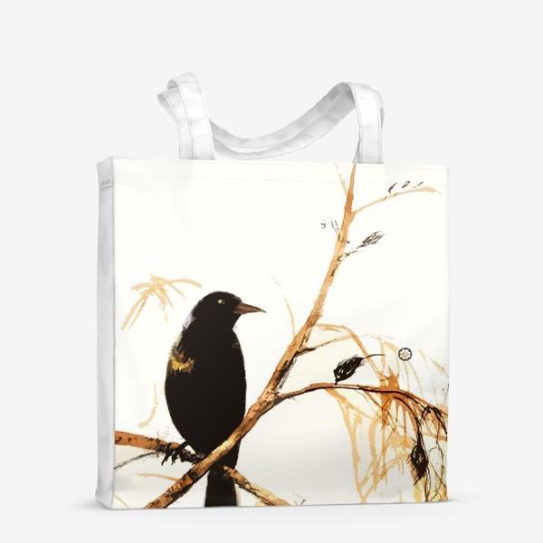 Сумка-шоппер «Птица на ветке.»