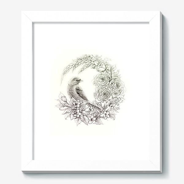 Картина «Графика. Птица и цветы»