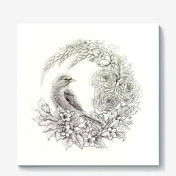 Холст «Графика. Птица и цветы»