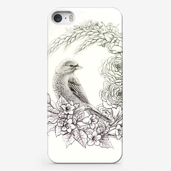 Чехол iPhone «Графика. Птица и цветы»