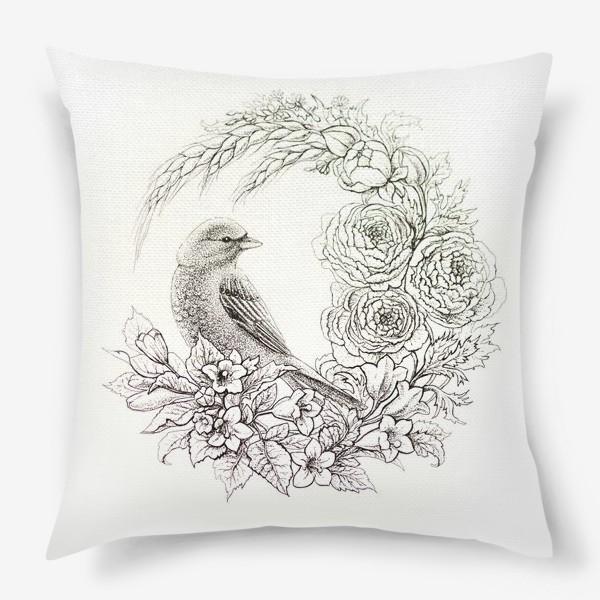 Подушка «Графика. Птица и цветы»
