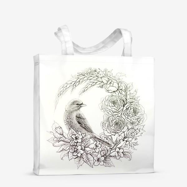 Сумка-шоппер «Графика. Птица и цветы»
