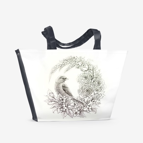 Пляжная сумка «Графика. Птица и цветы»