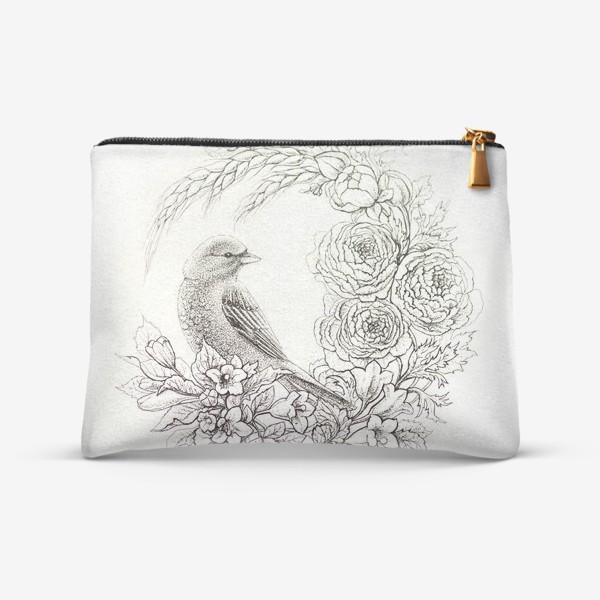 Косметичка «Графика. Птица и цветы»