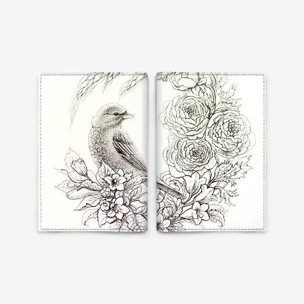 Обложка для паспорта «Графика. Птица и цветы»