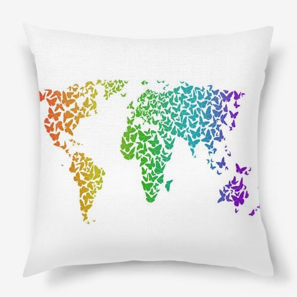 Подушка «Карта мира бабочек»