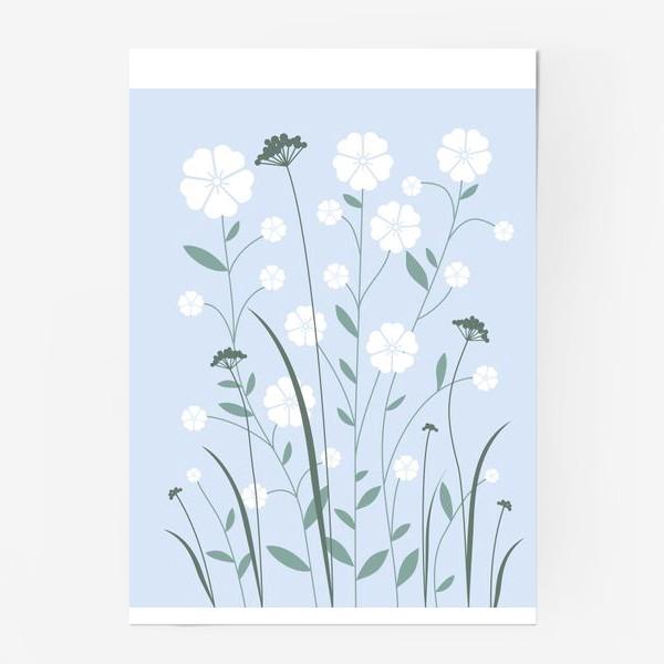 Постер «Белые цветы»