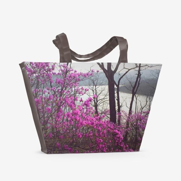 Пляжная сумка «Багульник. Цветы. Море.»
