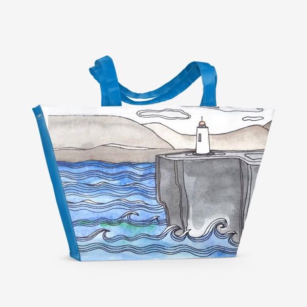 Пляжная сумка «Девушка и маяк»