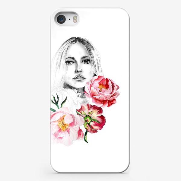 Чехол iPhone «Девушка и пионы»