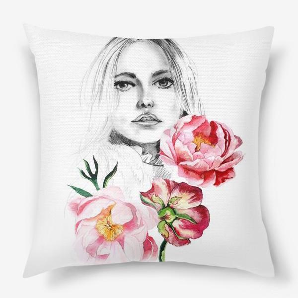 Подушка «Девушка и пионы»