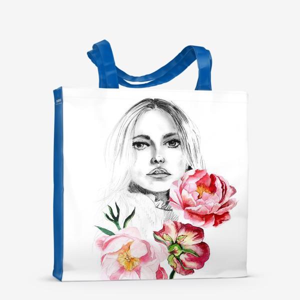 Сумка-шоппер «Девушка и пионы»