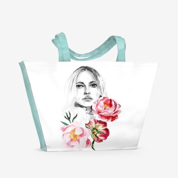Пляжная сумка «Девушка и пионы»