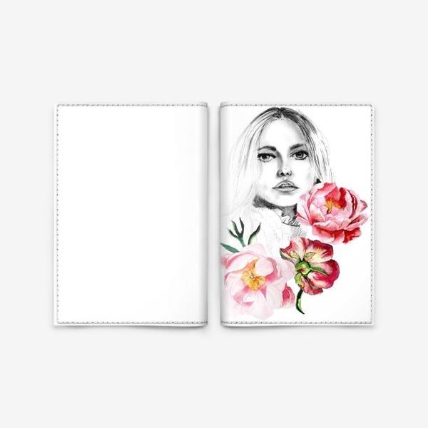 Обложка для паспорта «Девушка и пионы»