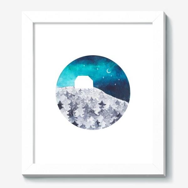 Картина «Дом на вершине леса и северное сияние.»