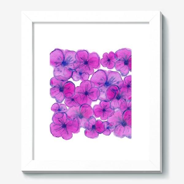 Картина «Букет - Фиалки. Акварельная иллюстрация. Watercolor Violet flowers»