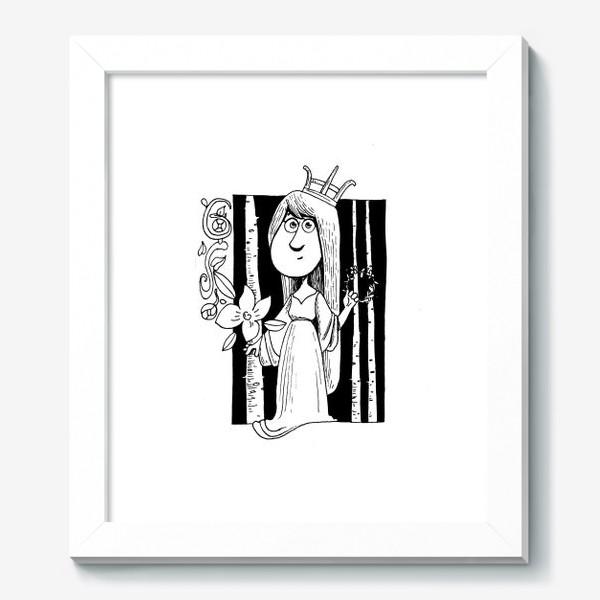 Картина «Принцесса в лесу, черно-белая графика. Корона на голове»