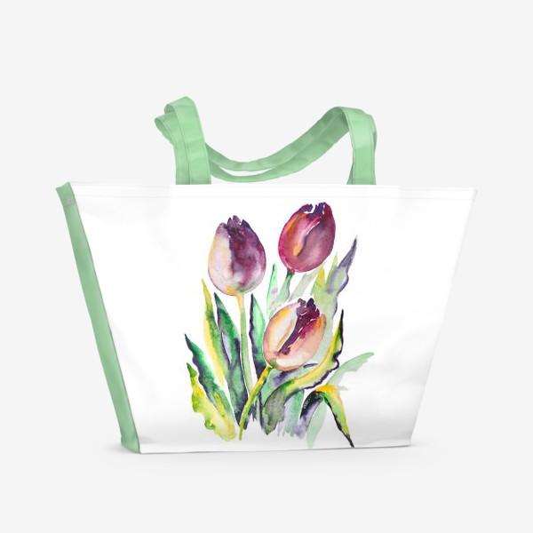 Пляжная сумка «Тюльпаны красные»