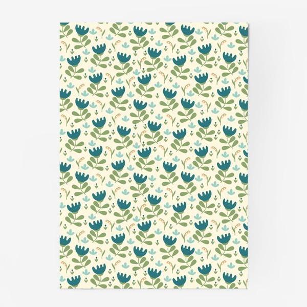 Постер «Паттерн с синими цветами в скандинавском стиле»
