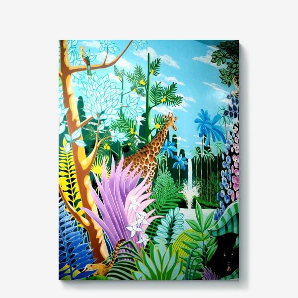 Холст «Джунгли, жираф, пантера»