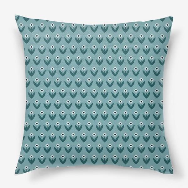 Подушка «Паттерн с милыми весенними цветами в скандинавском стиле»