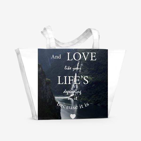 Пляжная сумка «Screamworks. Love like your life's depending on it»