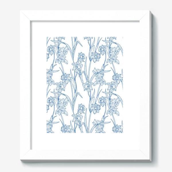 Картина «Паттерн с нарциссами в бело-голубом»