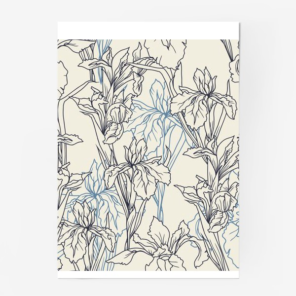 Постер «Паттерн с ирисами в стеле прованс»
