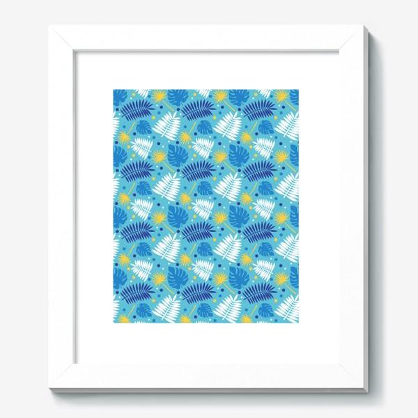 Картина «Яркий бирюзовый паттерн с пальмами, летний дизайн.»