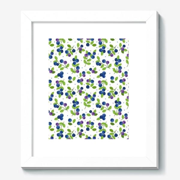 Картина «Яркий паттерн с синими ягодами, черника, голубика»