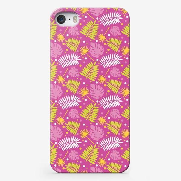 Чехол iPhone «Розовый паттерн с яркими пальмами»