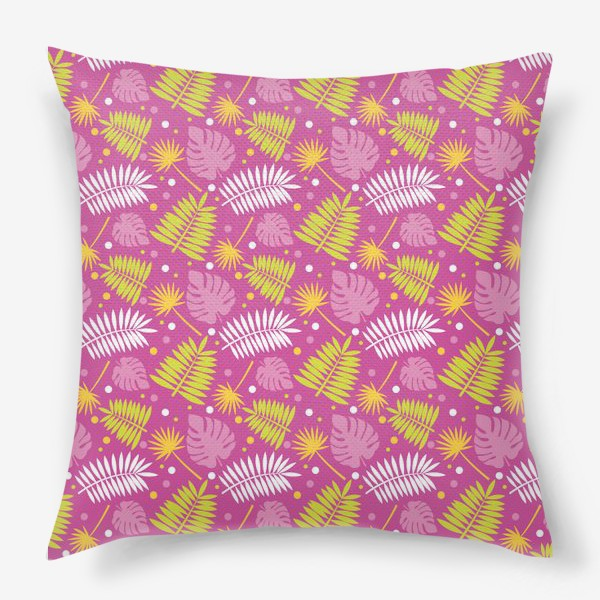 Подушка «Розовый паттерн с яркими пальмами»