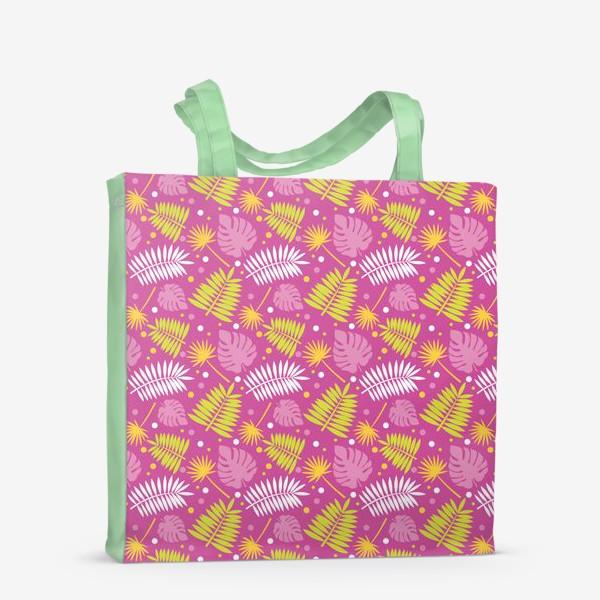 Сумка-шоппер «Розовый паттерн с яркими пальмами»