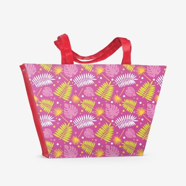 Пляжная сумка «Розовый паттерн с яркими пальмами»