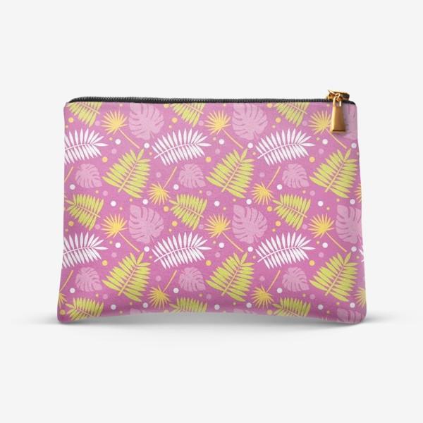 Косметичка «Розовый паттерн с яркими пальмами»