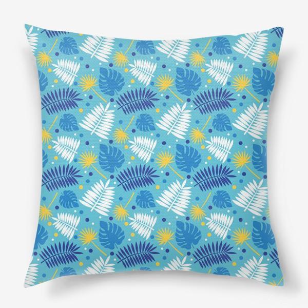 Подушка «Яркий бирюзовый паттерн с пальмами, летний дизайн.»
