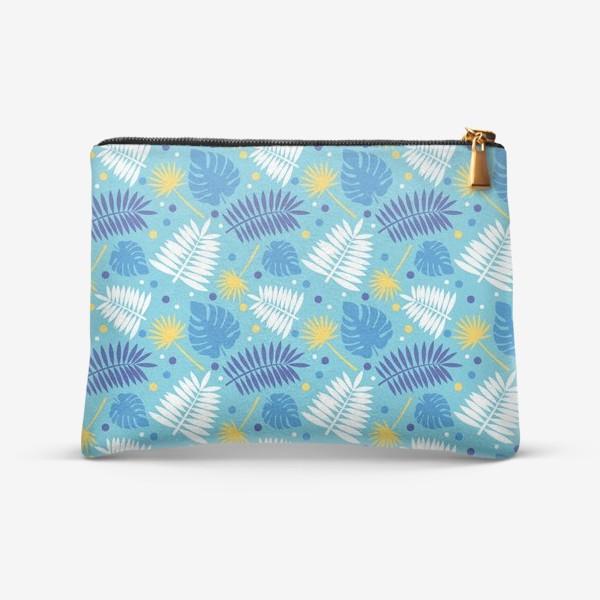 Косметичка «Яркий бирюзовый паттерн с пальмами, летний дизайн.»