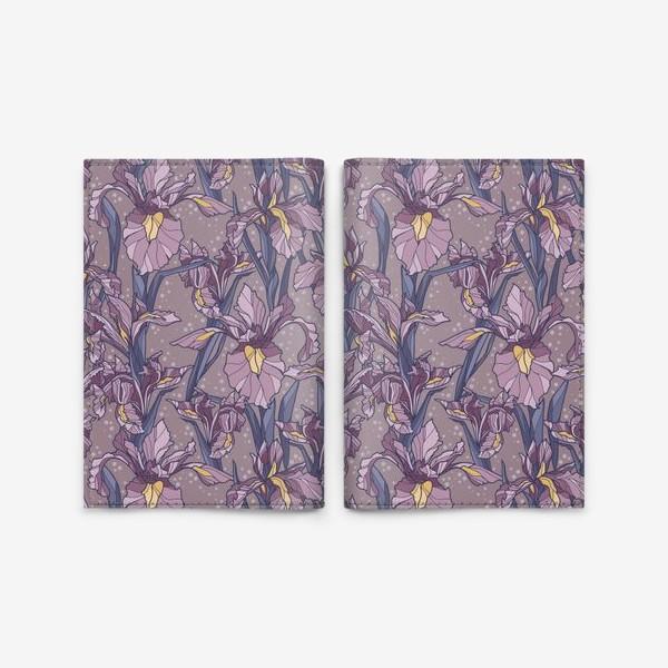 Обложка для паспорта «Паттерн с ирисами в фиолетовых оттенках»