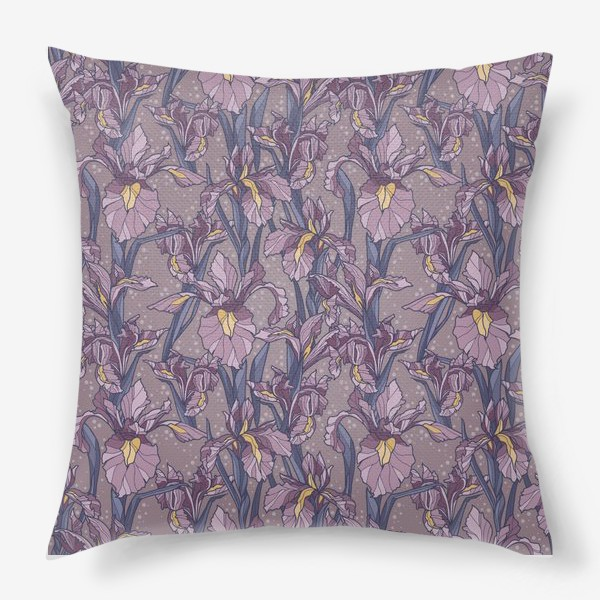 Подушка «Паттерн с ирисами в фиолетовых оттенках»