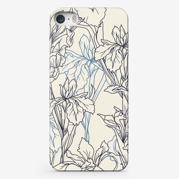 Чехол iPhone «Паттерн с ирисами в стеле прованс»