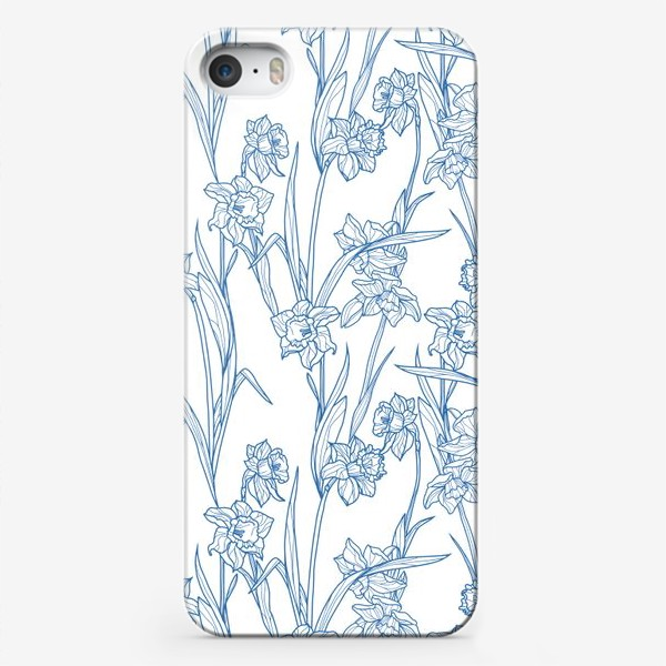 Чехол iPhone «Паттерн с нарциссами в бело-голубом»